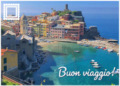 Italy Travel Postcard with Coastal Town Music Tour