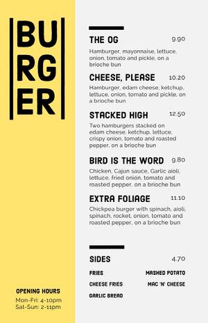 Yellow Burger Joint Menu Menu