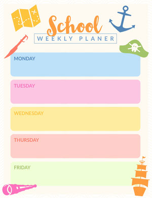 Light, Pastel Color Toned, School Weekly Planer Worksheet  Agenda