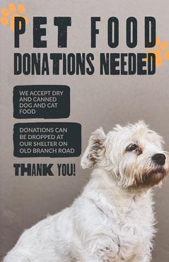 Black & White Dog Pet Food Donations Poster Dog