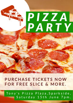 Green With Photo Of Pizza Flyer Pizza
