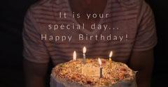 Photo of Man Holding Cake Happy Birthday Instagram Landscape Birthday