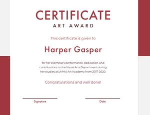 Red Art Academy Award Certificate Zertifikat