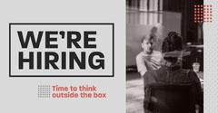 Grey & Red Pattern LinkedIn Blog Post Now Hiring Flyer