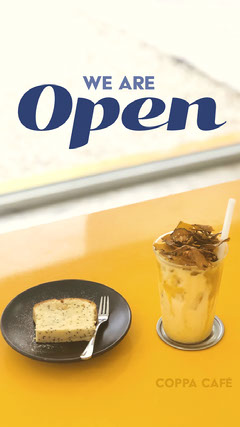 Brown and Blue Cafe Opening Instagram Story Ad Bakery