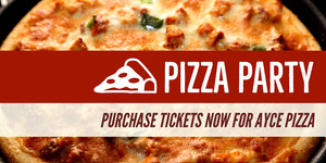 Claret and White Pizza Party Advertisement Ads Banner