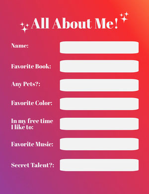 Gradient All About Me Worksheet Tarjetas de Datos Personales