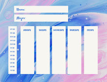 Blue and Pink Empty Schedule Aikataulu