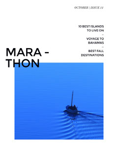 Blue and White Travel and Tourism Magazine Cover with Boat in Sea Boats