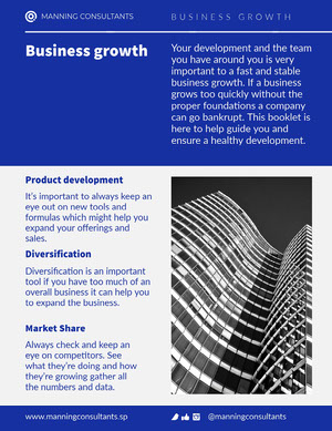 Blue White Business Business Growth Booklet Letter Booklet