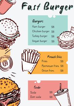 Colourful Fast Food Burger Joint A5 Menu Burger