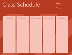 Red Weekly School Class Schedule Education