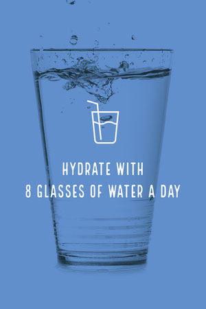 Blue Staying Hydrated Advice Pinterest Graphic Meme