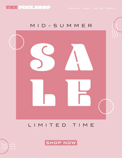 White and Pink Mid Summer Sale Newsletter Shopping