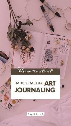 Pink, Light Toned Art Journaling Tutorial Instagram Story Tutor Flyer