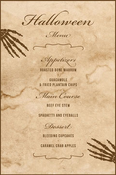 Beige Old Bones Halloween Party Menu Halloween Party Menu