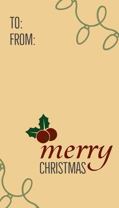 Beige, Light Toned Christmas Gift Card  Christmas
