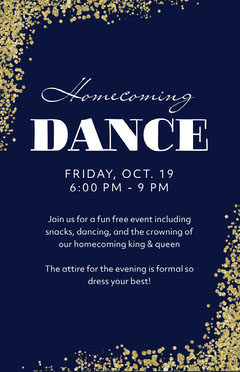 Dark Blue, White and Gold Homecoming Dance Poster School Dance Flyer