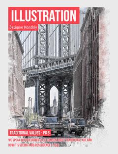 Red Illustration Graphic Design Magazine Cover with Bridge Designer