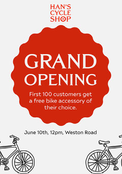 Red & White Han's Cycle Shop Flyer Giveaway