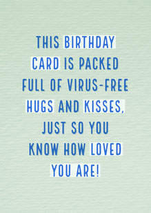 Green and Blue Social Distancing Birthday Hugs and Kisses Card Schede