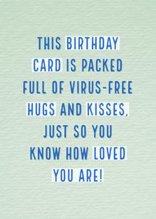 Green and Blue Social Distancing Birthday Hugs and Kisses Card Cartões