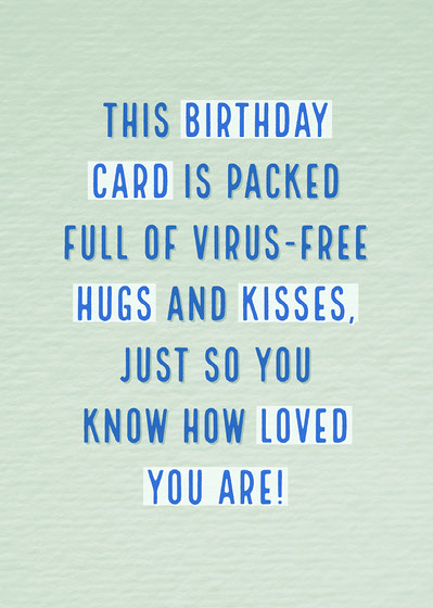 Green and Blue Coronavirus Themed Love Card Birthday Card with Quotes