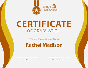 Gold and Brown High School Graduation Certificate Certificat