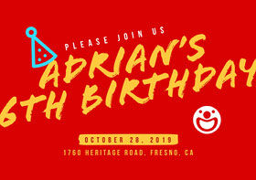 Red and Yellow Birthday Invitation Birthday Invitation (Boy)