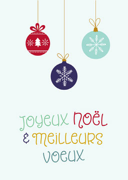 Multicolour Baubles Merry Christmas Card