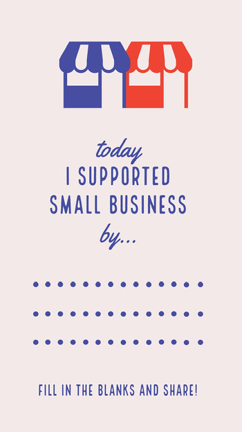 Blue and Red Illustrated Support Small Business Interactive Instagram Story COVID-19