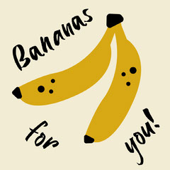 Yellow Illustrated Bananas for You Love Card Fruit