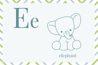 Illustrated Alphabet Learning Flashcard with Elephant Flashcard
