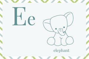 Illustrated Alphabet Learning Flashcard with Elephant Fiche mémoire