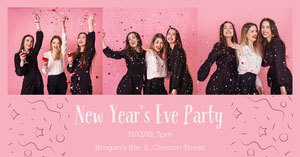 Pink Feminine New Year's Eve Party Facebook Post Graphic with Women and Confetti Happy New Year