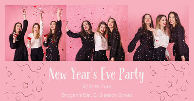 Pink Feminine New Year's Eve Party Facebook Post Graphic with Women and Confetti Tamaño de Imagen de Facebook