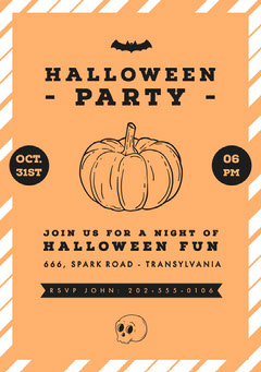 Halloween Pumpkin Bat Party Invitation Halloween Party Invitation
