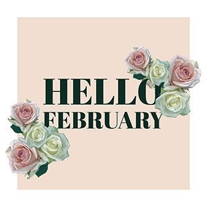 Pink February Floral Seasonal Square Instagram Social Post Graphic with Roses Carte de Saint-Valentin