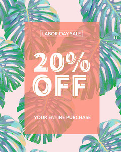 Red and Blue Light Toned Labor Day Sale Instagram Portrait Labor Day Flyer