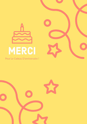 yellow birthday thank you cards  Carte de remerciement