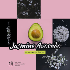 Pink and Green Avocado Cosmetic Line Square Instagram Ad Cosmetic