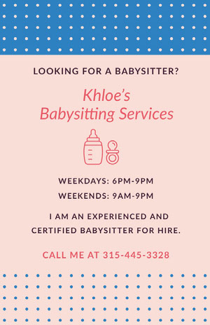 Khloe's <BR>Babysitting Services  Pink Flyers