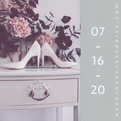 Gray Bridal and Wedding Shop Instagram Square Ad with High Heels Shoes