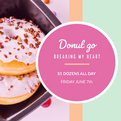 Pink With Fresh Donut Shop Sale Instagram Graphic Donut