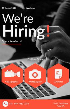 we're hiring media job poster Job Poster