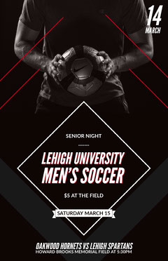 Black University Soccer Team Match Flyer Soccer