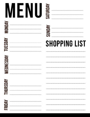 Black and White Weekly Planner with Shopping List Weekly Menu