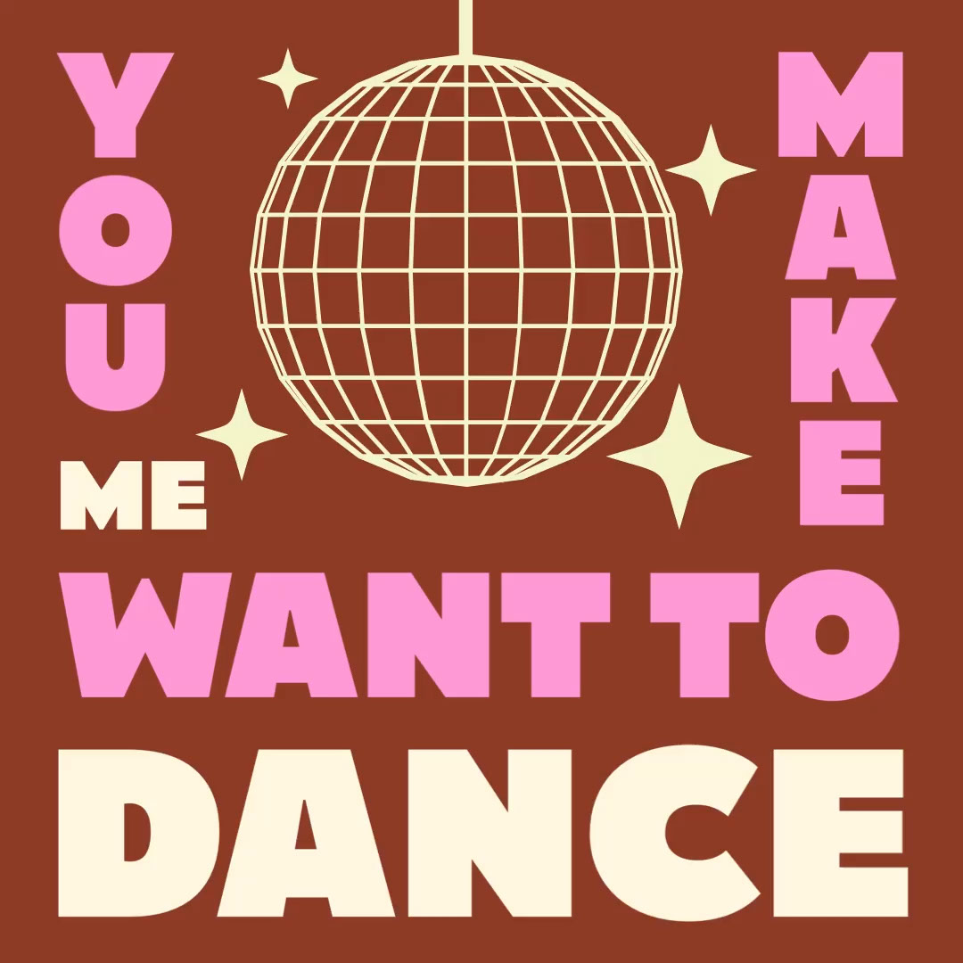 Maroon and Lilac Retro Disco Dance Quote Dance Want to You Make Me