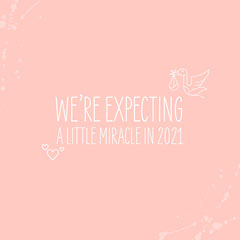 Pink with White Text & Icons Instagram Square Baby's First Year