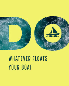Yellow and Blue Inspirational Instagram Portrait Graphic with Sea and Boat Boats